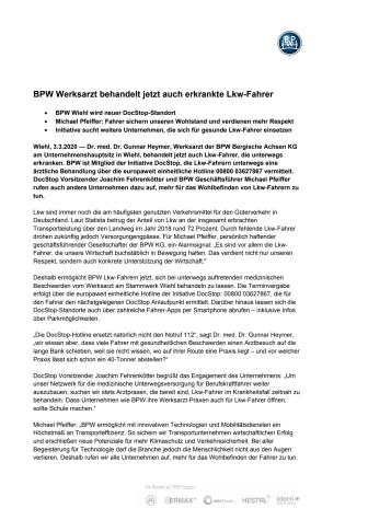 BPW Werksarzt behandelt jetzt auch erkrankte Lkw-Fahrer