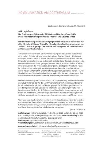«Wir spielen»: Die Goetheanum-Bühne zeigt 2020 viermal Goethes ‹Faust 1&2› in der Neuinszenierung von Andrea Pfaehler und Eduardo Torres