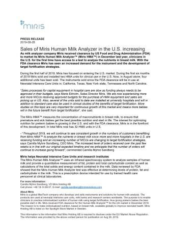 Sales of Miris Human Milk Analyzer in the U.S. increasing