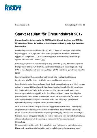 Starkt resultat för Öresundskraft 2017
