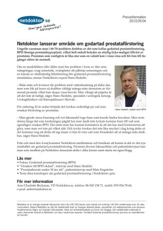 Netdoktor lanserar område om godartad prostataförstoring (BPH)