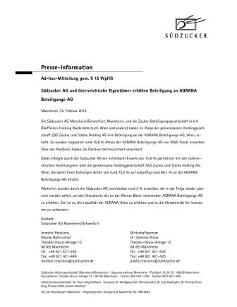 Südzucker AG und österreichische Eigentümer erhöhen Beteiligung an AGRANA Beteiligungs-AG