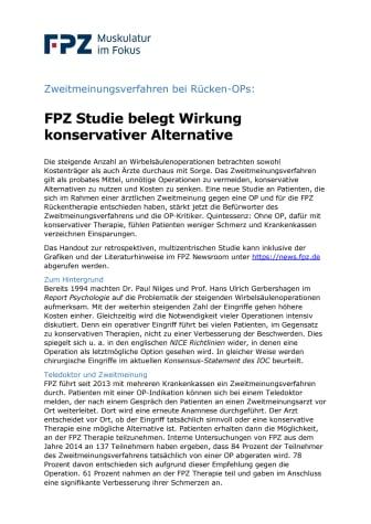 Zweitmeinungsverfahren bei Rücken-OPs: FPZ Studie belegt Wirkung konservativer Alternative