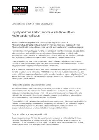 Kyselytutkimus kertoo: suomalaisille tärkeintä on kodin paloturvallisuus