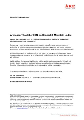 Åredagen 19 oktober 2012 på Copperhill Mountain Lodge