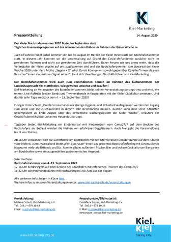 Kieler Bootshafensommer findet im September statt!