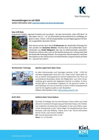 Tourist-Information Kiel: Termine im Juli 2019