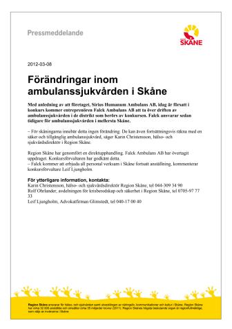 Förändringar inom ambulanssjukvården i Skåne