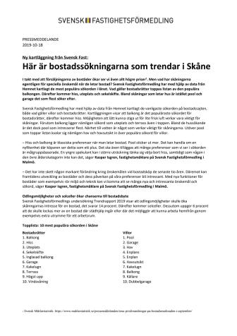 Ny kartläggning från Svensk Fast: Här är bostadssökningarna som trendar i Skåne