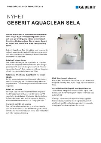 Pressinformation om AquaClean Sela