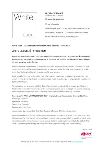White Guide i samarbete med Hörselskadades Förening i Stockholm presenterar Årets Ljudmiljö i Stockholm