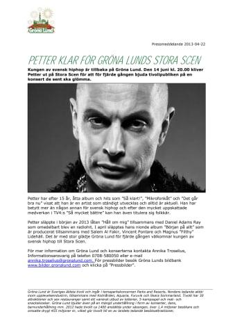 Petter klar för Gröna Lunds Stora Scen