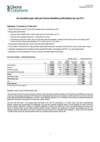 Dixons Carphone - årsregnskap 2014/2015
