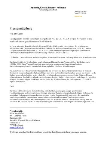 MPC CPO Nordamerika Schiffe 1 aktuell: LG Berlin verurteilt Targobank zu Schadensersatz und Rückabwicklung