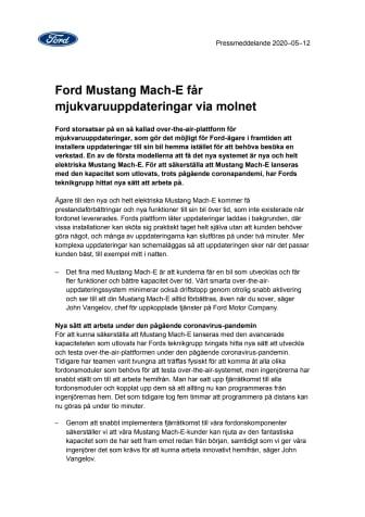 Ford Mustang Mach-E får mjukvaruuppdateringar via molnet
