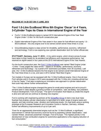 Fords EcoBoost kåret til årets motor under 1,0 liter for 4. gang i træk!
