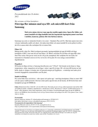 Mer utrymme och höga hastigheter: Föreviga fler minnen med nya SD- och microSD-kort från Samsung