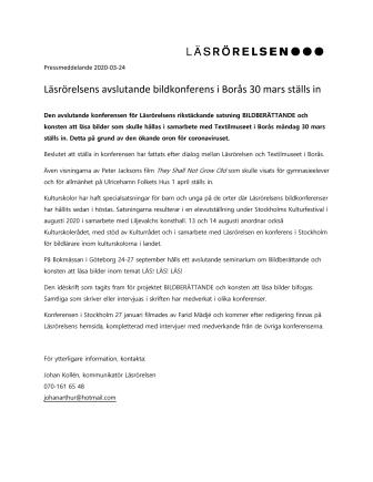 Läsrörelsens avslutande bildkonferens i Borås 30 mars ställs in
