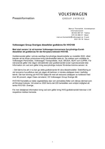 Volkswagen Group Sveriges dieselbilar godkänns för HVO100