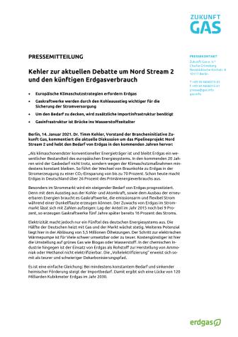 Kehler zur aktuellen Debatte um Nord Stream 2 und den künftigen Erdgasverbrauch