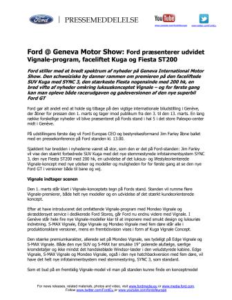Ford @ Geneva Motor Show: Ford præsenterer udvidet Vignale-program, faceliftet Kuga og Fiesta ST200