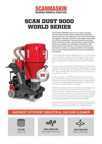 Scanmaskin Sweden AB launches new dust collector in the World Series range
