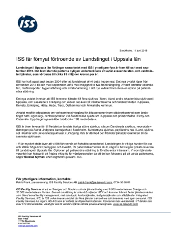 ISS får förnyat förtroende av Landstinget i Uppsala län
