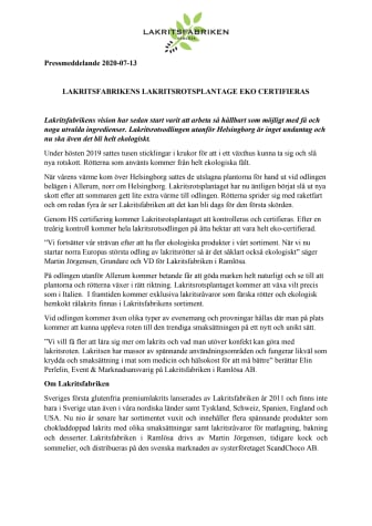 Lakritsfabrikens lakritsrotsodling ekocertifieras