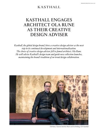 KASTHALL ENGAGES ARCHITECT OLA RUNE AS THEIR CREATIVE DESIGN ADVISER
