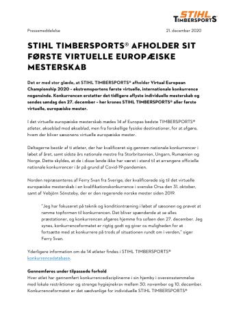 STIHL TIMBERSPORTS® AFHOLDER SIT FØRSTE VIRTUELLE EUROPÆISKE MESTERSKAB