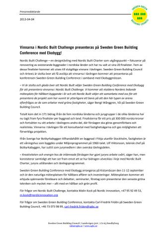 Vinnarna i Nordic Built Challenge presenteras på Sweden Green Building Conference med Ekobygg!