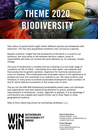 WIN WIN Award Theme 2020: Biodiversity