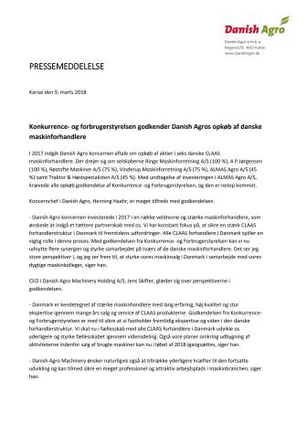 Danish Agros uppköp av sex maskinhandlare i Danmark godkänt av konkurrensverket