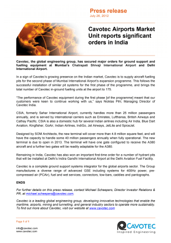 News of our orders for fuelling systems at Mumbai and Delhi airports