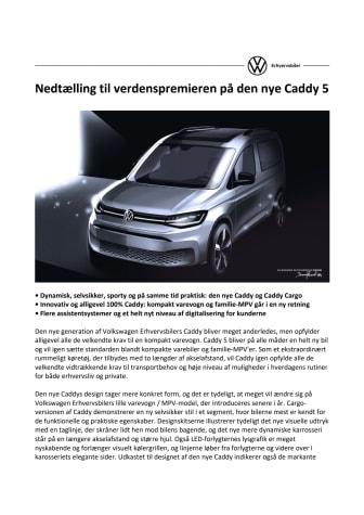Nedtælling til verdenspremieren på den nye Caddy 5