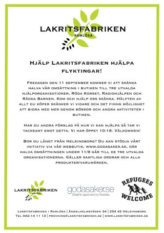 Hjälp Lakritsfabriken hjälpa flyktingar!