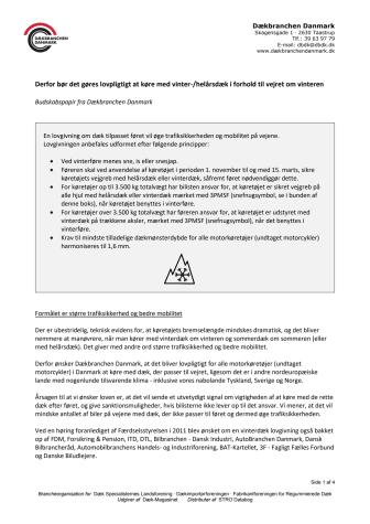 Dækbranchen Danmarks budskabspapir