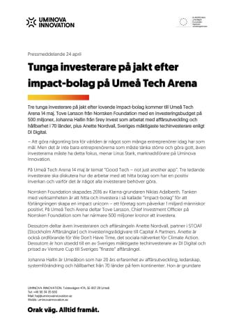 Tunga impact-investerare med på Umeå Tech Arena