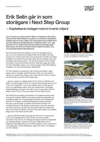 Erik Selin går in som storägare i Next Step Group – kapitaliserar bolaget med kvarts miljard