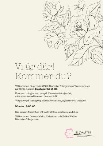 Inbjudan till Blomsterfrämjandets pressträff på Elmia Garden