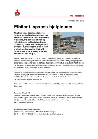 Elbilar i japansk hjälpinsats