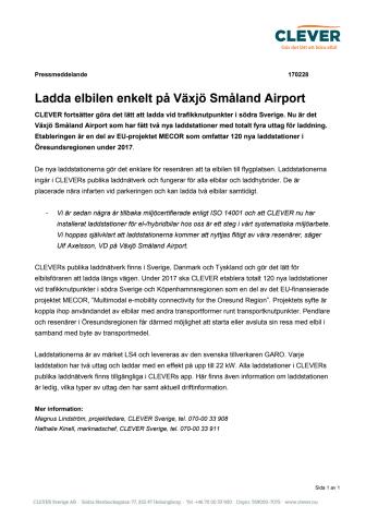 Ladda elbilen enkelt på Växjö Småland Airport