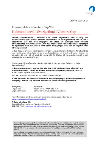 Halmstadbor till Sverigefinal i Venture Cup