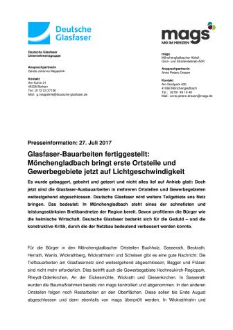 Glasfaser-Bauarbeiten fertiggestellt: Mönchengladbach bringt erste Ortsteile und Gewerbegebiete jetzt auf Lichtgeschwindigkeit