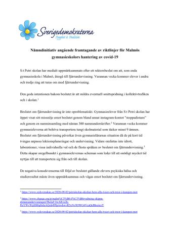 Nämndsinitiativ angående framtagande av riktlinjer för Malmös gymnasieskolors hantering av covid-19