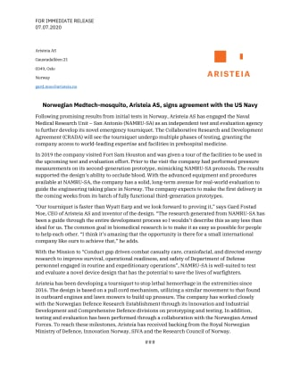 Norwegian Medtech-mosquito, Aristeia AS, signs agreement with the US Navy