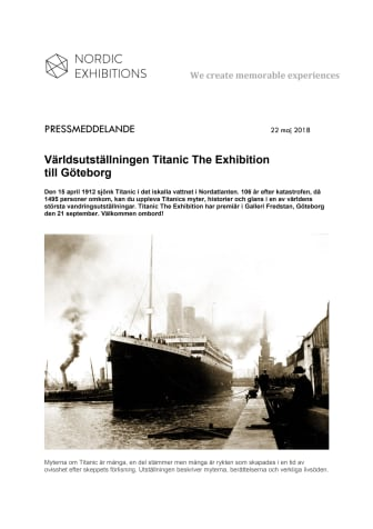 Världsutställningen Titanic The Exhibition till Göteborg