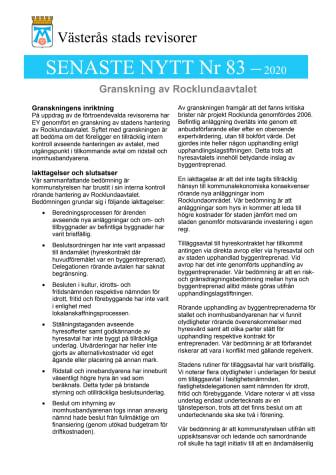 Senaste nytt - Uppföljande granskning av Rocklundaavtalet.pdf