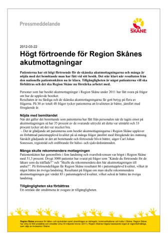 Högt förtroende för Region Skånes akutmottagningar