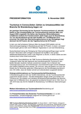 Tourismus in Corona-Zeiten: Zahlen zu Umsatzausfällen der Branche für Brandenburg liegen vor